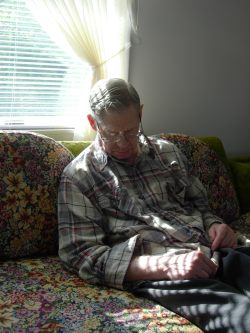 Grandpa napping on the couch