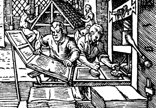 Engraving of printers at work